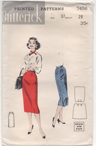 "1950's Butterick Boxy Jacket and Slim Skirt Pattern - Bust 36"" - No. 7545"