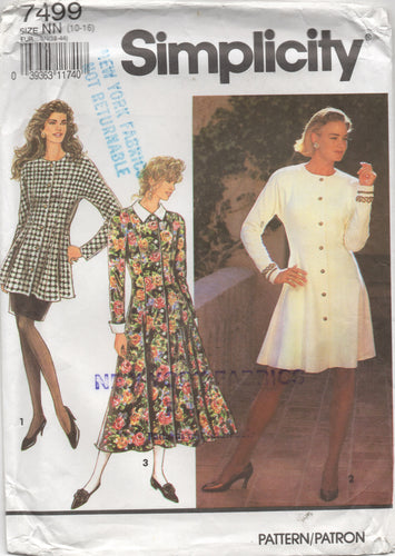 1990's Simplicity One piece Button Up Dress or Tunic and Straight Skirt pattern - Bust 32.5-34-36-38