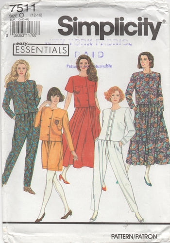1990's Simplicity Button up Blouse, Skirt, Shorts and Pants pattern - Bust 34-36-38