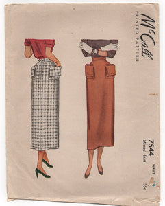 "1949 McCall Slim fit skirt with fold over pocket - Waist 24"" - No. 7544"