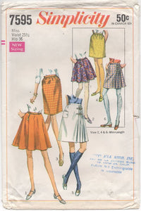 "1970's Simplicity Skirt, 3 Styles Straight, Pleated & Circle, Short or Midi - Waist 25.5"" - No. 7595"