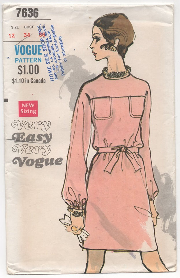 1960's Vogue One Piece Dress with Patch Pockets Pattern - Bust 34