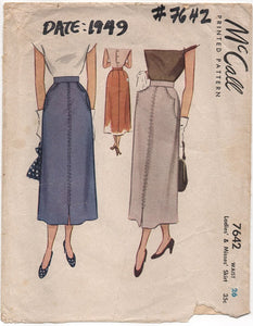 "1940's McCall's Skirt with Detailed Pocket Style - Waist 26"" - No. 7642"