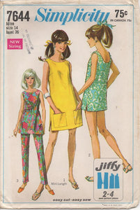 "1960's Simplicity Dress or Overblouse and Cigarette Pants - Bust 36"" - No. 7644"
