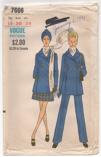 1960's Vogue Double-Breasted Jacket, Straight Leg Pants and Skirt - Bust 36
