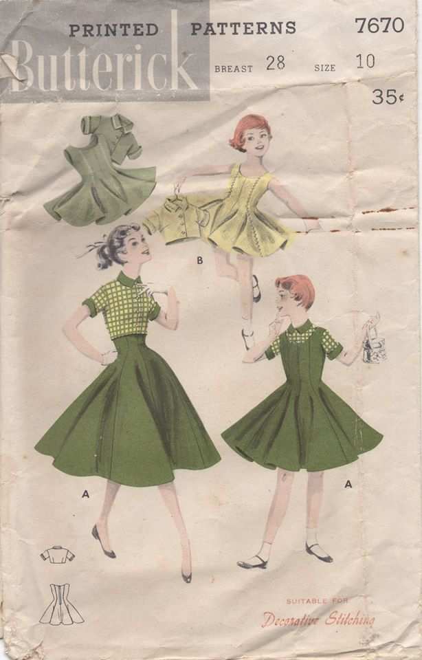 1950's Butterick Child's One Piece dress and Jacket or blouse - Chest 28