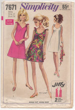 "1960's Simplicity One Piece Dress with Tie Shoulders - Bust 34"" - No. 7671"