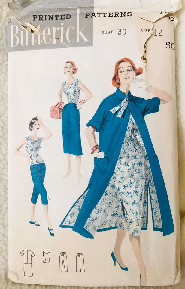 "1950's Butterick Blouse, High Waisted Cropped Pants, Slim skirt and Overcoat - Bust 30"" - No. 7686"