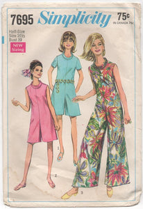 "1960's Simplicity Jumpsuit with wide legs and rolled collar - Bust 39"" - No. 7695"