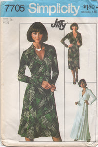 "1970's Simplicity Maxi or Midi Dress Wrap Dress with Large Collar and Long Sleeves Pattern - Bust 36"" - no. 7705"