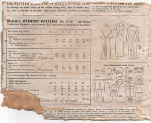 "1940's McCall's One Piece Dress with Raised Front Waist and Bustle-style back - Bust 32"" - No. 7719"