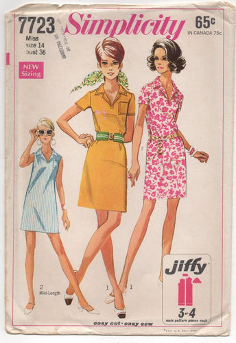 1960's Simplicity One Piece Shift Dress with Pocket Pattern - Bust 36