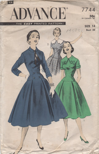 1950's Advance One Piece Drop Waist Dress with Two Collar Styles - Bust 32