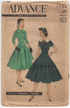 "1950's Advance Two Piece Dress with Fitted Top and Pleated Skirt - Bust 32"" - No. 7745"