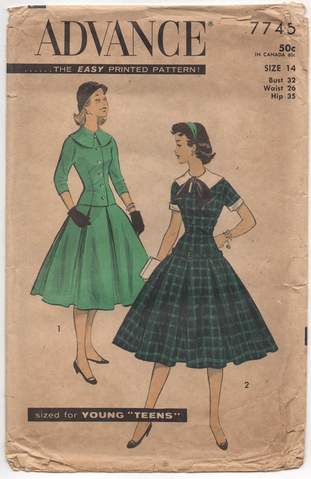 1950's Advance Two Piece Dress with Fitted Top and Pleated Skirt - Bust 32