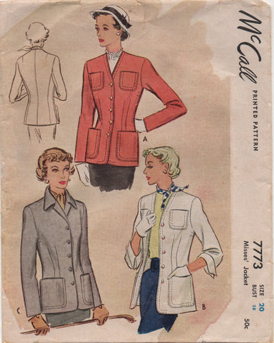1940's McCall Jacket with Pockets and Top Stitching detail - Bust 38
