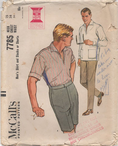 1960's McCall's Men's Shirt, Shorts and Long Pants - Chest 38