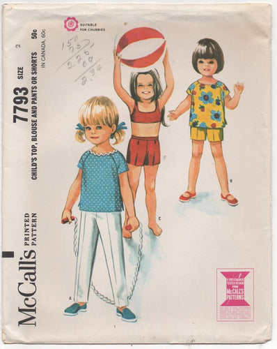 1960's McCall's Child's Top and Shorts or Pants - Chest 21