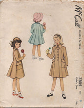 "1940's McCall Child's Princess Line Coat with Angled Patch Pockets - Chest 22"" - No. 7805"