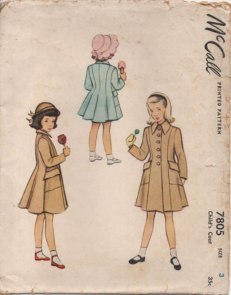 1940's McCall Child's Princess Line Coat with Angled Patch Pockets - Chest 22