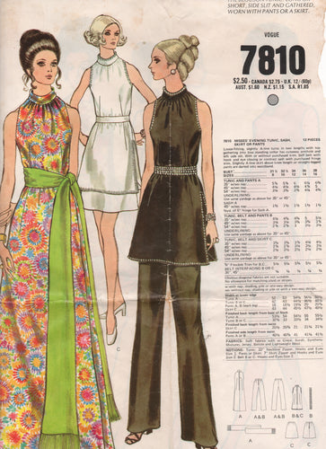 1970's Vogue Maxi Dress, Tunic, Skirt, Lounge pants and sash - Bust 34
