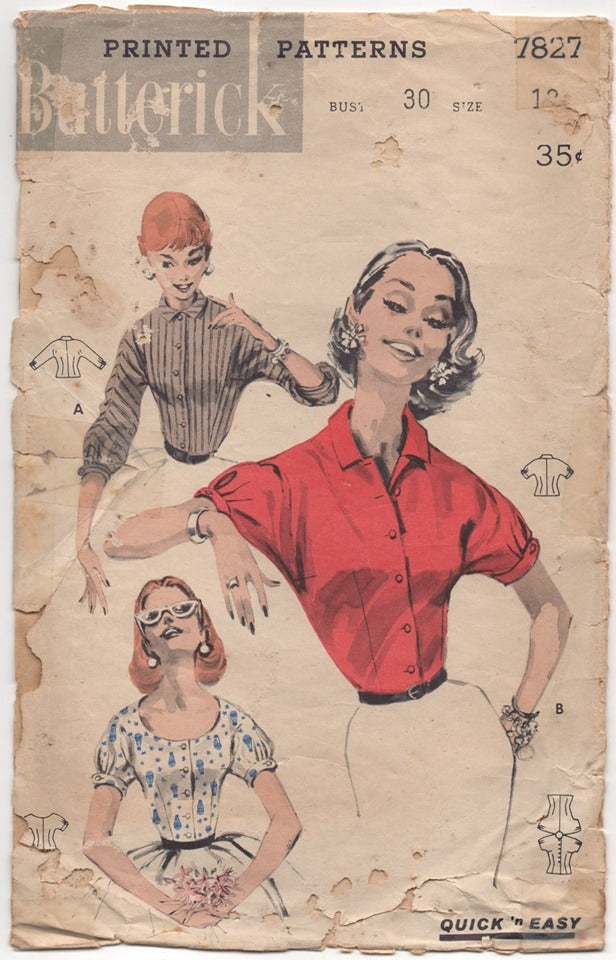 1950's Butterick Blouse with Self Short Sleeves - Bust 30