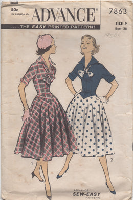 1950's Advance One Piece Drop Waist Dress with Tab Accents and Large Collar - Bust 28