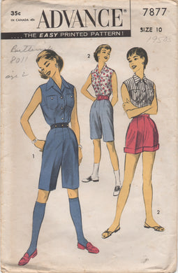 1950's Advance Button up Blouse, and High Waisted Shorts - Bust 28