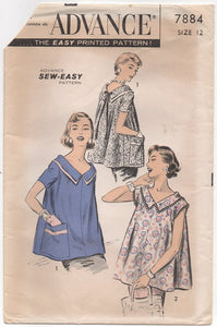 "1950's Advance Maternity Blouse with Large Pockets and V Neck - Bust 30"" - No. 7884"