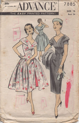 1950's Advance Slim Fit One Piece Dress with Optional Gathered Overskirt - Bust 36