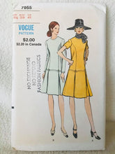 "1960's Vogue One Piece Dress with detailed drop waist and two sleeve lengths - Bust 39"" - No. 7955"