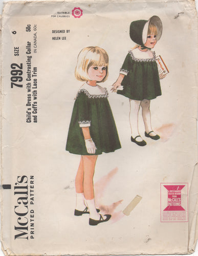 1960's McCall's by Helen Lee Girl's Dress with Large Yoke - Size 6 - No. 7992