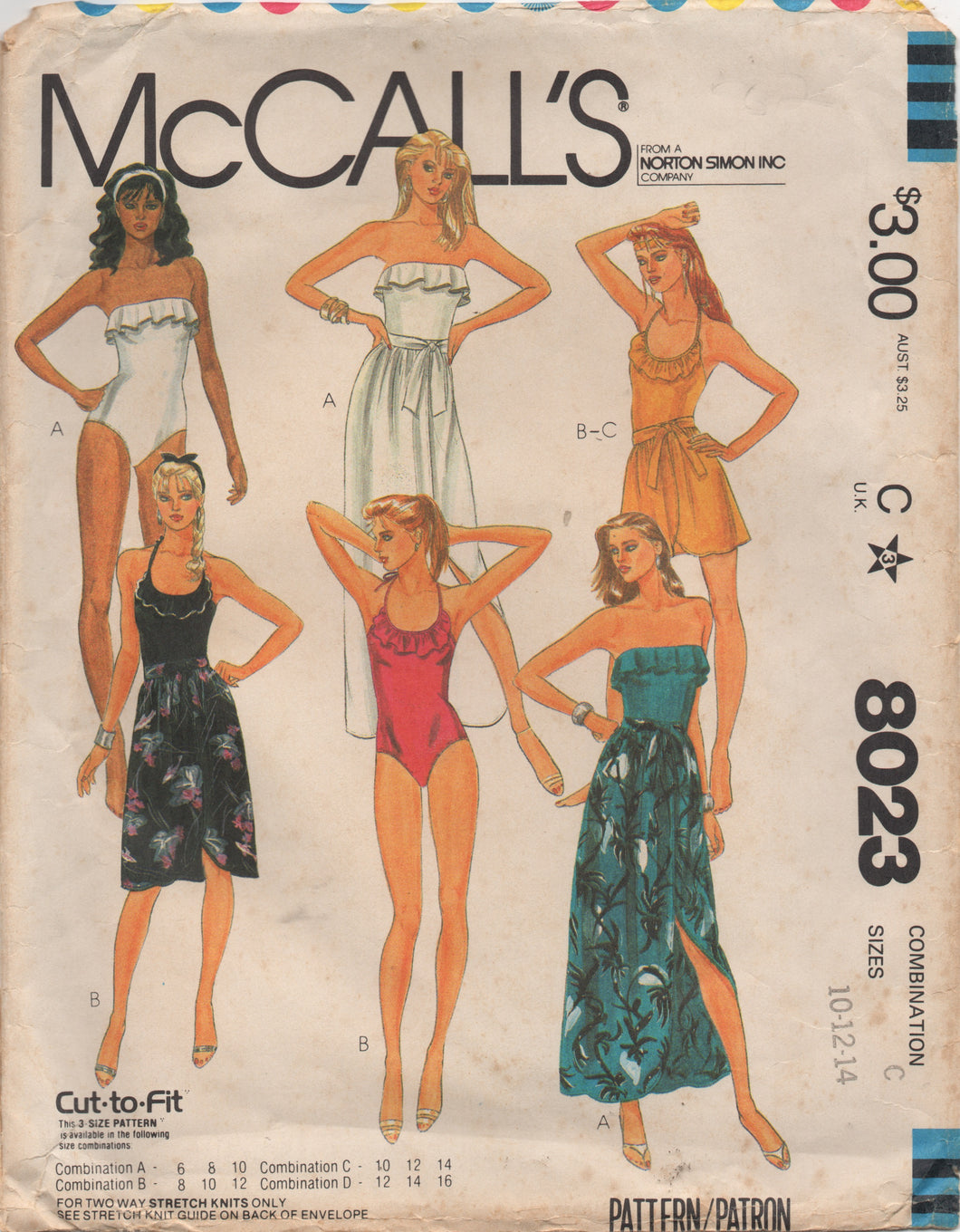 1980's McCall's One Piece Swimsuits with Ruffle detail and Wrap Skirt in three lengths - Bust 32.5-34-36