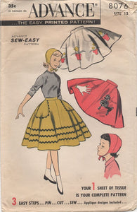 "1950's Advance Circle Skirt and Felt Cap with Applique ideas - Waist 25"" - No. 8076"