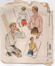 "1940's McCall Blouse with Full, Long or Short Sleeves - Bust 32"" - No. 8095"