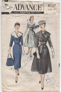 "1950's Advance Coat Dress with Coachman Collar and Double-breasted - Bust 34"" - No. 8137"