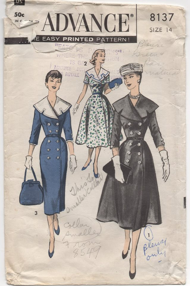 1950's Advance Coat Dress with Coachman Collar and Double-breasted - Bust 34