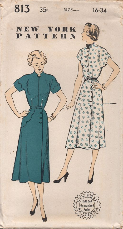 1950's New York One Piece Dress with Asymmetrical Scallop detail and High neck - Bust 34