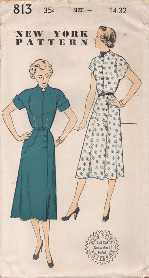1950's New York One Piece Dress with Asymmetrical Scallop detail and High neck - Bust 32