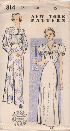 1940's New York Night Gown with Yoke and Two Necklines - Bust 33