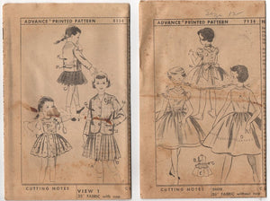 1950's Advance Girl's Dress & Suit Patterns - Lot of 2 - UC/FF, but no Envelope - No. 7934 & 8154