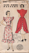 "1950's New York Full Apron with Button Back and Ruffle detail - Bust 34"" - No. 816"