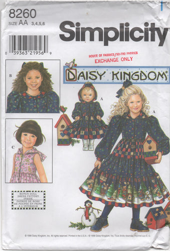 1990's Simplicity Daisy Kingdom One Piece Dress with or without Hood and Doll Dress with Hood- Size 3, 4, 5, 6 - No. 8260