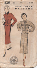 "1950's New York Two Piece Suit with Arrow Style Peplum and Banded Jacket - Bust 34"" - No. 826"