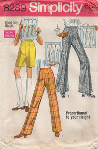 "1960's Simplicity Bermuda Shorts, High-waisted trousers or Bell Bottoms - Waist 25.5"" - No. 8289"