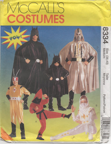 "1990's McCall's Adult or Teen Ninja and Super Hero Costume pattern - Bust 38-40"" - No. 8334"