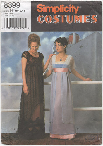 1990's Simplicity Titanic Rose Gowns Costume - Size 10-12-14 - No. 8399