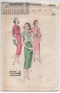 "1950's Butterick Blouse in Two Lengths and Slim Skirt Pattern - Bust 34"" - No. 8244"