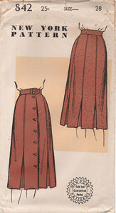 "1940's New York Six or Seven Piece Skirt with Inverted Box Pleats - Waist 28"" - No. 842"
