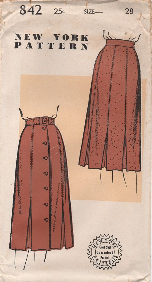 1940's New York Six or Seven Piece Skirt with Inverted Box Pleats - Waist 28